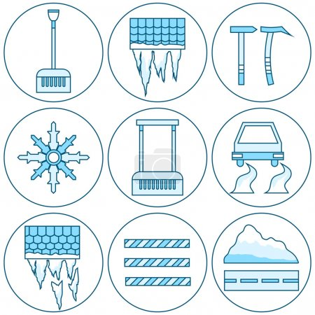 Equipment Icon Cleaning Roofs From Snow, Icicles And Ice