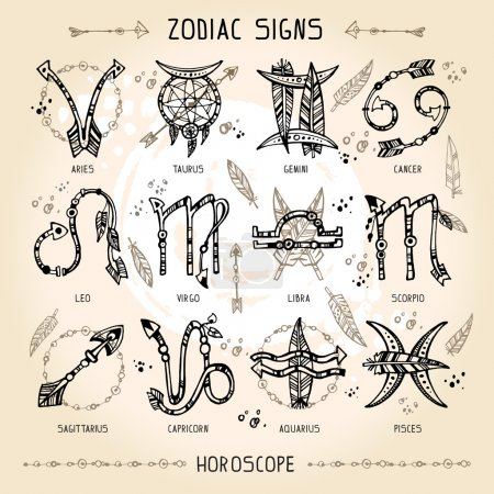 Illustration for Set of hippie and bohemian style hand drawn zodiac signs. With decorative indian and boho elements: arrows, feathers, indian ornament. - Royalty Free Image