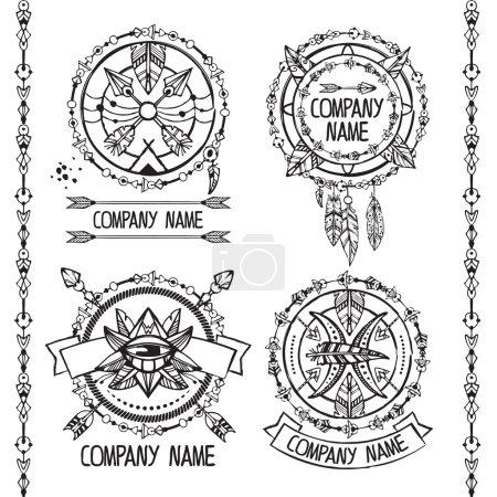 Boho and hippie style logotypes.