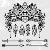 Set of hand drawn style vector illustrations: warrior bonnet totem arrows and feathers