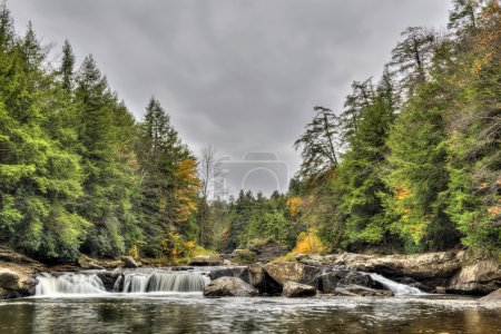 Swallow Falls waterfall in Appalachian mountains in Autumn