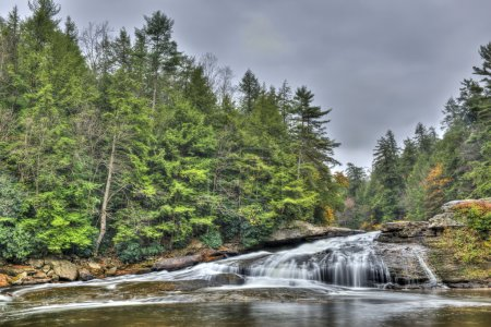 Tolliver Falls waterfall in Appalachian mountains in Autumn
