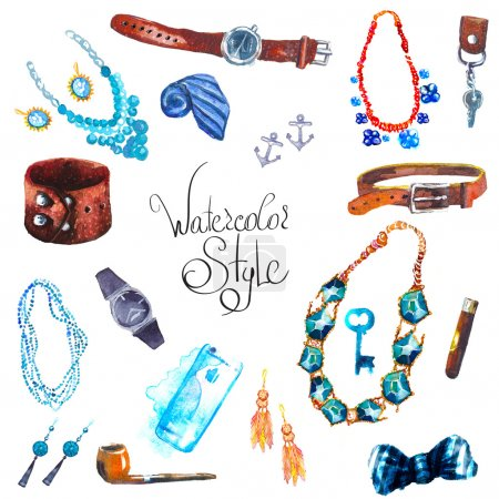 Photo for Illustration watercolor set of jewellery items. Hand drawn accessories - Royalty Free Image