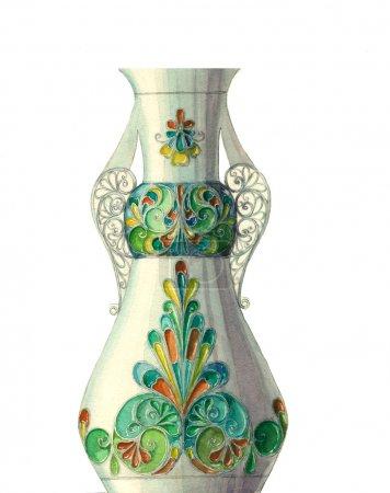 Photo pour Vase aquarelle coloré avec motif géométrique isolé sur un fond blanc - image libre de droit