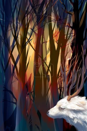 illustration mystical forest with a goat
