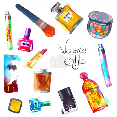 Watercolor cosmetics and perfumes
