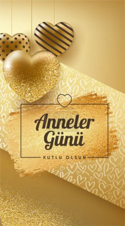 Illustration pour Design spécial pour les mères au cœur doré et à la fête des mères heureuses (turc : Anneler gnnz kutlu olsun. Anneler gunu kutlu olsun.) Conception de coeur d'or pour les mères précieuses. (Taille carrée) - image libre de droit