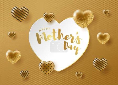 Illustration pour Design spécial pour les mères au cœur doré et à la fête des mères heureuses (turc : Anneler gnnz kutlu olsun. Anneler gunu kutlu olsun.) Conception de coeur d'or pour les mères précieuses. - image libre de droit