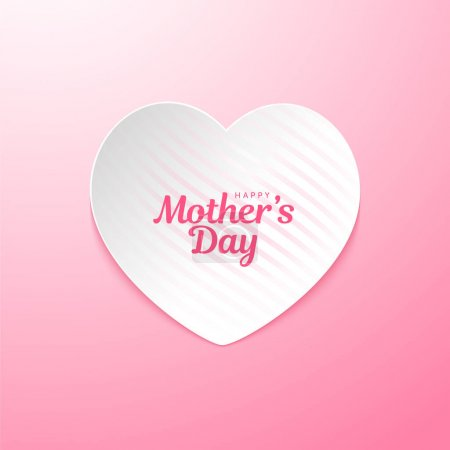 Illustration pour Design rose sucre frais de Happy Mothers day carte de voeux. Carte de jour Happy Mothers avec motif en forme de coeur sur la ligne. - image libre de droit