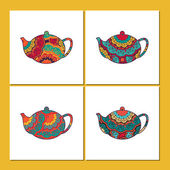 Vector set of cards or tea  package with ornamental orient teapots Oriental indian style