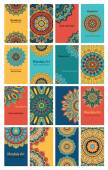 Set of 16 cards or invitations with mandala