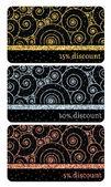 Set of golden silver bronze glitter discount cards templates