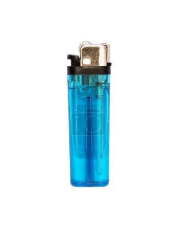 Photo pour Briquet à gaz bleu clair sur fond blanc - image libre de droit