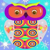 Funny owl with snowflakes in cartoon styleFor printing on T-shirts