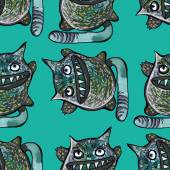 Scary toothy cats on turquoise background