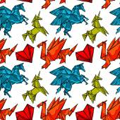 Origami Magical animals: dragon pegasus unicorn Heart Seamless vector pattern (background)