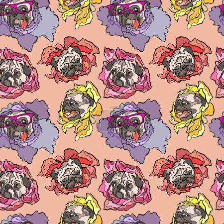 Dog. Pug. Flower. Seamless vector pattern (background).