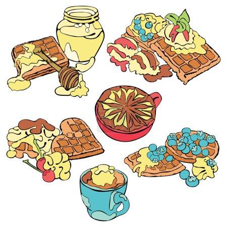 Illustration pour Bonjour. Bonjour. Petit déjeuner. tasse de café et gaufrettes. Objet vectoriel isolé sur fond blanc . - image libre de droit