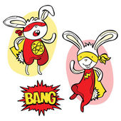 Superhero Bunny Dialog Box Bang! Isolated object on white background Funny little power superhero bunny in raincoat Superhero concept Children's pattern with superheroes Cute bunny - superhero