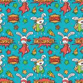 Superhero Bunny Carrot Asterisk Dialog cloud - Bang! Big carrot! Vector seamless background Funny little power superhero bunny in raincoat Superhero concept Children's pattern with superheroes