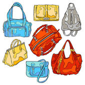 Ladies` Bags. Set. Isolated vector objects on white background.