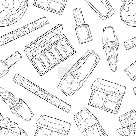 Illustration pour Cosmétiques : parfum, ombre à paupières, fard à joues, rouge à lèvres, mascara, vernis à ongles, fond de teint. Modèle vectoriel sans couture (arrière-plan ). - image libre de droit