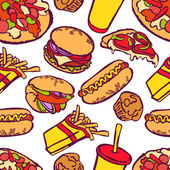 Fast food Vector seamless illustration which shows: hamburger (tasty hamburger with tomatoes cheese sauces and meat) hot dog pizza sandwich milkshake French fries