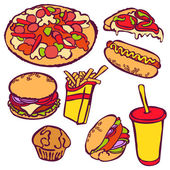 Fast food Vector illustration which shows: hamburger (tasty hamburger with tomatoes cheese sauces and meat) hot dog pizza sandwich milkshake French fries Set with various fast food
