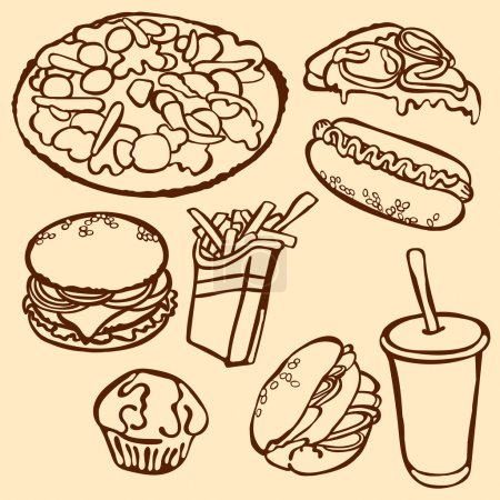 Fast food. Vector illustration, which shows: hamburger (tasty hamburger with tomatoes, cheese, sauces and meat), hot dog, pizza, sandwich, milkshake, French fries. Set with various fast food.
