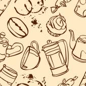 Coffee Coffee theme Desserts Vector seamless illustration with the image of coffee coffee pots coffee cups cake coffee beans and coffee stains Bright picture Hot invigorating drink
