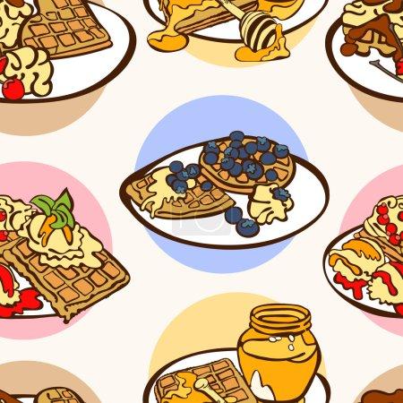 Illustration pour Série de petit déjeuner. Des gaufres. Illustration vectorielle sans couture, qui montre les gaufres en conjonction avec le miel, le chocolat, les baies (bleuets, cerises), la crème fouettée, la crème glacée. Fond lumineux . - image libre de droit