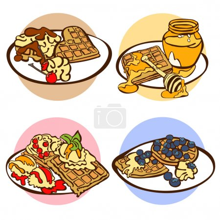Series of (Set) breakfast. Waffles. Vector illustration, which shows waffles in conjunction with honey, syrup, chocolate, berries (blueberries, cherries), whipped cream, ice cream. Bright picture.