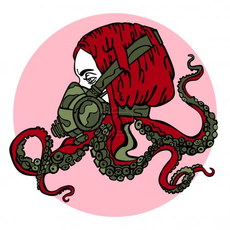 Illustration for Girl. Steam-punk. Respiratory. Tentacles of an octopus. Vector illustration, which shows: a beautiful girl, hair, octopus tentacles, respirator, mask, gas mask tentacles. Bright picture. Gothic. - Royalty Free Image
