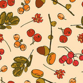 Acorns Berries Flowers Leaves Vector seamless illustration (background) Autumn pattern