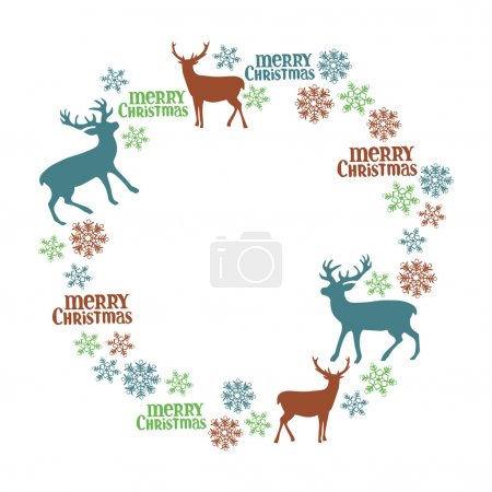 Merry Christmas. Deer. Frame - wreath. Winter pattern.