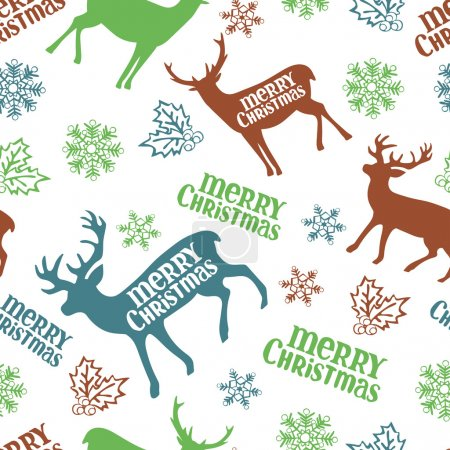 Merry Christmas. Christmas deer. Vector seamless illustration. Christmas background. Winter pattern.