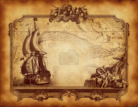 Photo for Vintage parchment frame of old ships and ship life illustrations, with an antique map in background - Royalty Free Image
