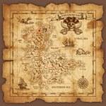 Vector super detailed Pirate Treasure map on a rui...
