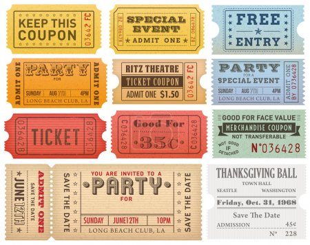 Grunge Colorful Tickets Templates