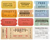 A comprehensive set of high detail Vintage grunge Tickets and Coupons suitable for paper or web publishing