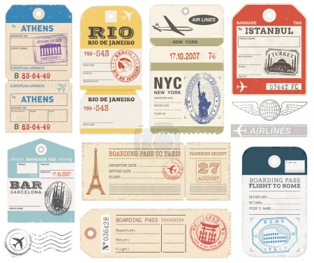 Illustration for Collection of 11 vector illustrations of vintage luggage tags, travel tickets and passport stamps - Royalty Free Image
