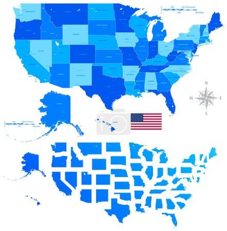 Photo pour Haute Détail vecteur coloré États-Unis d'Amérique États et grandes villes. Tous les éléments sont séparés en couches modifiables clairement étiquetées . - image libre de droit