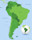 High detail vector map of the South America Continent with a 3D Globe centered on South America