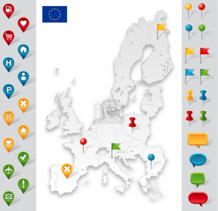 European Union Grey Map with markers