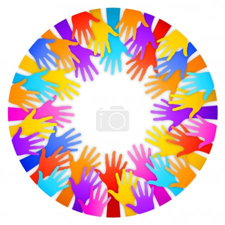 Vector Colorful Hands Frame