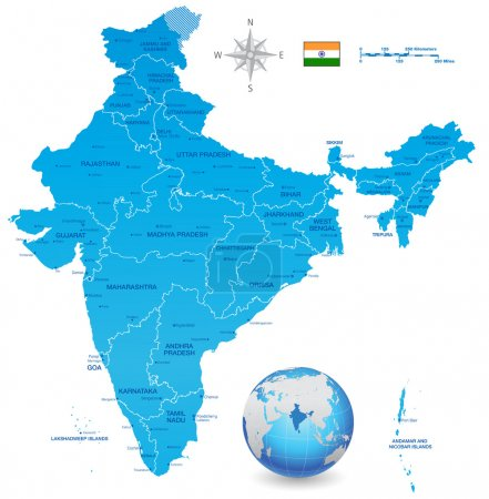 India Vector Map Set with 3D globe