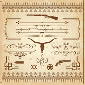 A collection of Wild West ornament with frames rulers angle ornaments and cliparts