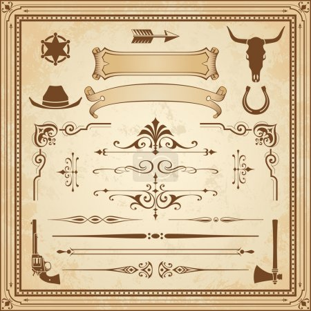 Illustration for A collection of Wild West ornament, with frames, rulers, angle ornaments and cliparts. - Royalty Free Image