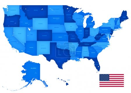 High Detail USA Blue shaded Map
