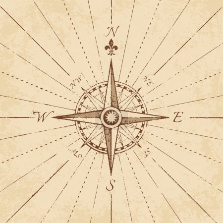 Vector Antique Grunge Compass Rose